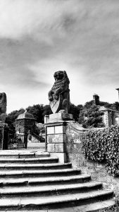 Black and White Lion Statue, Pollock House, Pollock Country Park, Glasgow