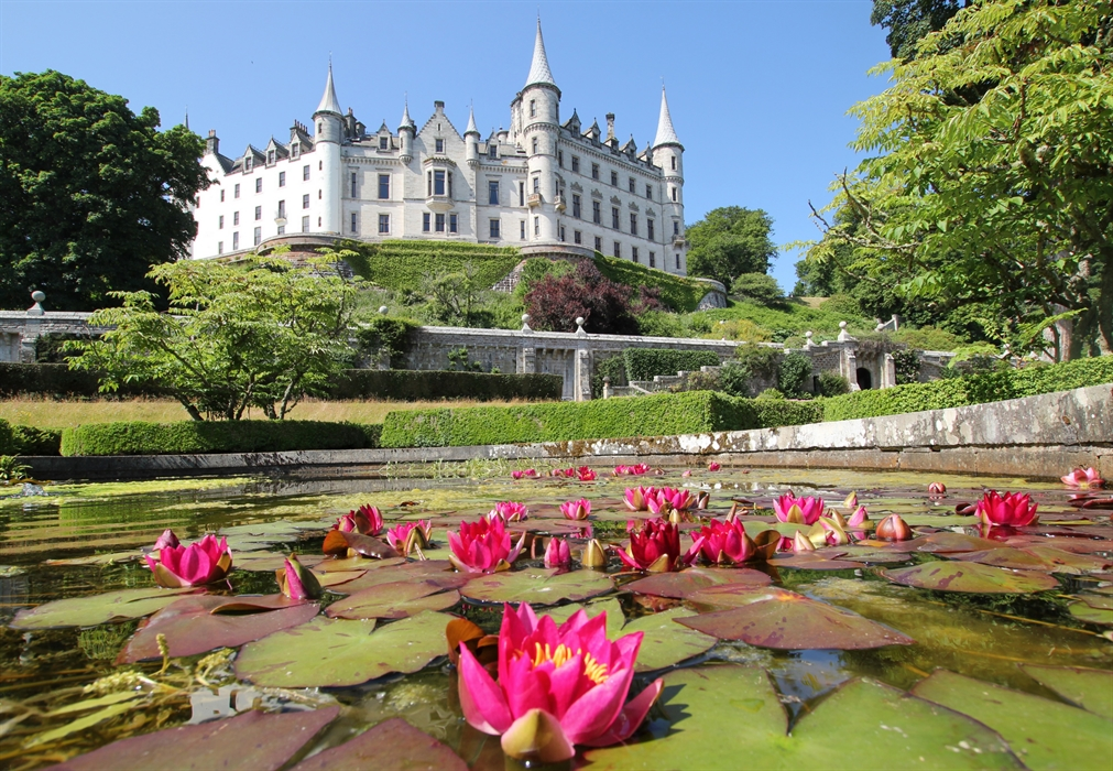 Dunrobin Castle across the Lily Pond. Photo Courtesy of VisitScotland.com