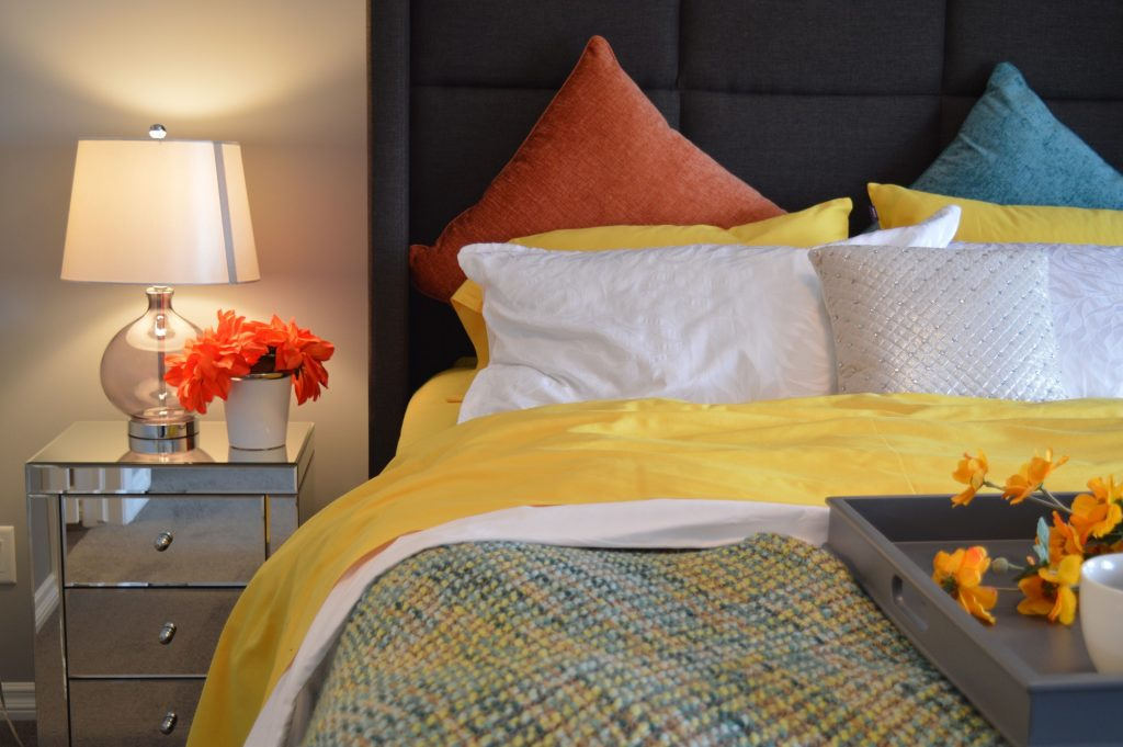 Colourful Bed and Bedroom Interior