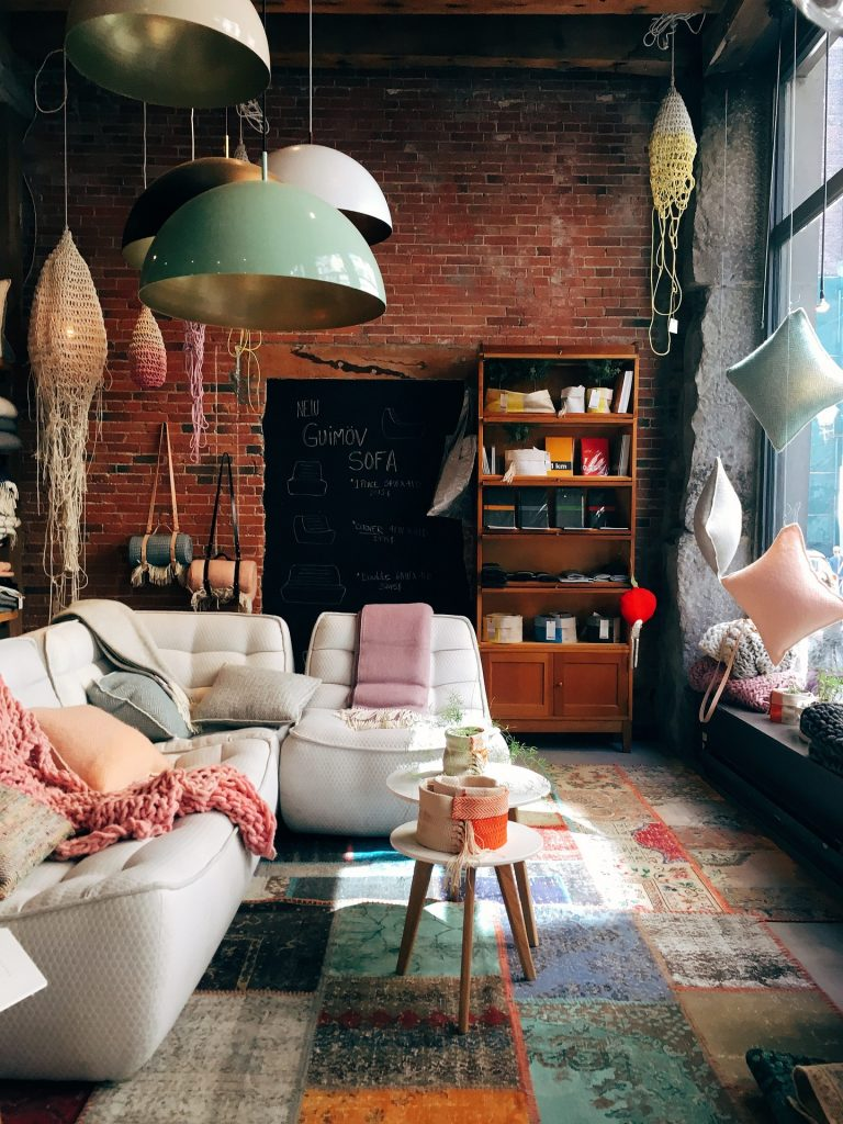 Brick Wall Living Room Interior