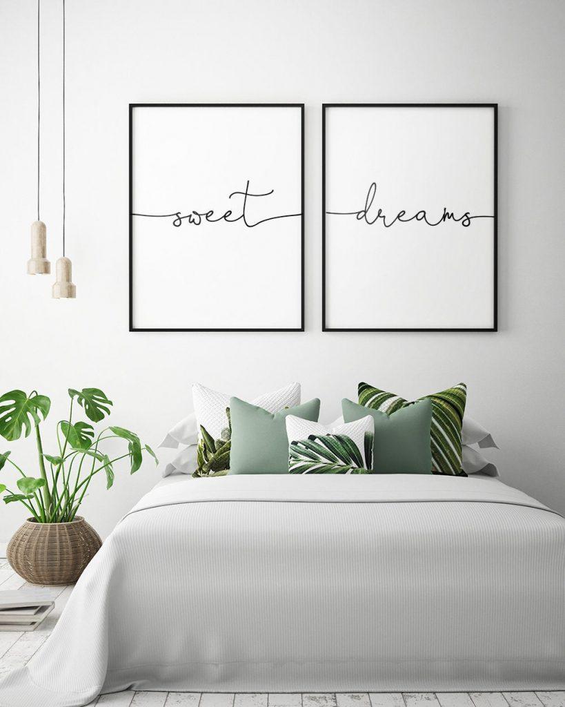 Sweet Dreams Artwork above Bed